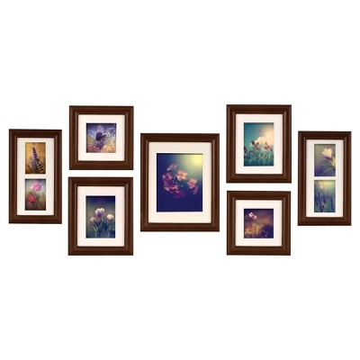 7pc Wall Frame Set Walnut - Gallery Perfect