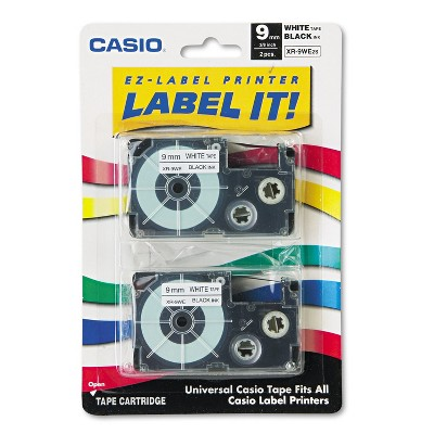 Casio Tape Cassettes for KL Label Makers 9mm x 26ft Black on White 2/Pack XR9WE2S