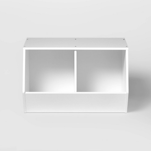 Stackable Laminate 2-Compartment Bin White - Pillowfort™ - image 1 of 4