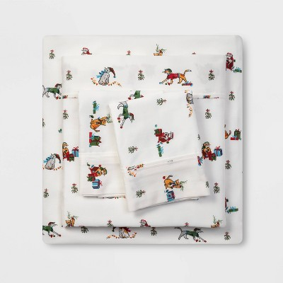 Queen 400 Thread Count Holiday Print Cotton Performance Sheet Set Holiday Cats - Threshold™