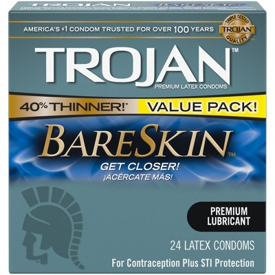 Trojan Bareskin Lubricated Condoms - 24ct