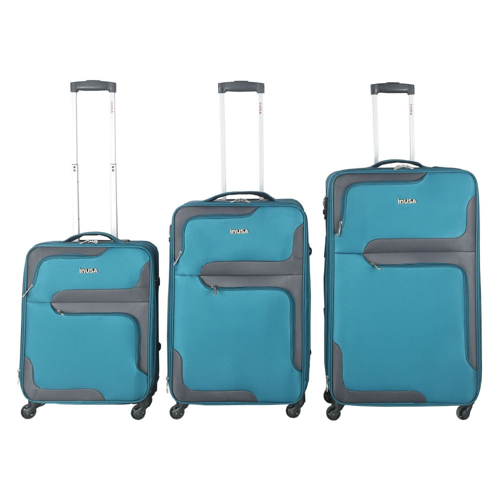 InUSA 3D-City 3pc Softside Spinner Luggage Set 20& 24