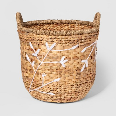 17.3  x 15.3  Embroidered Water Hyacinth Basket Natural/White - Threshold™