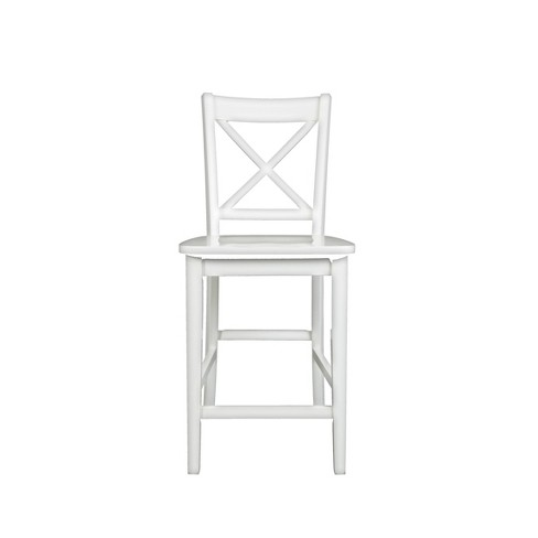 Set of 2 Wooden Counter Height Stool with X Panel Back White - Benzara - image 1 of 4