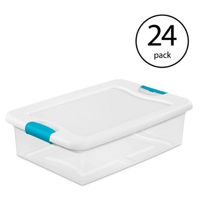 Sterilite 32-Quart Clear Stackable Latching Storage Box Container (24 Pack)