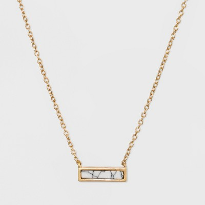 Rectangular Inlaid Semi-Precious White Howlite Stone Necklace - Universal Thread™ White