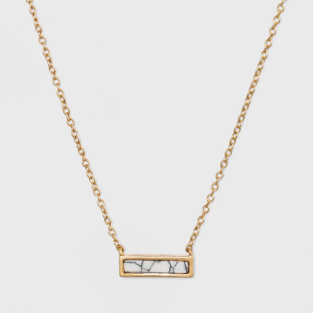Rectangular Inlaid Semi Precious White Howlite Stone Necklace Universal Thread 8482 White