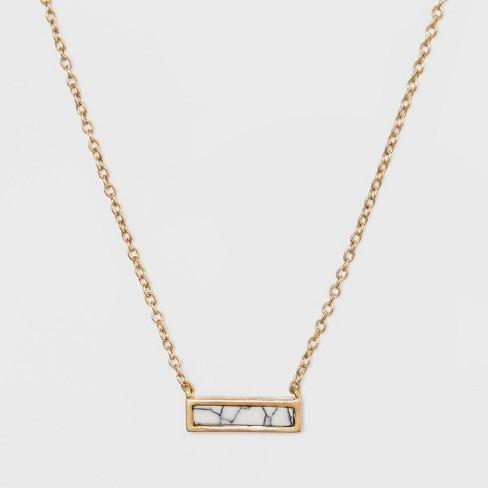 Rectangular Inlaid Semi-Precious White Howlite Stone Necklace - Universal Thread™ White - image 1 of 2