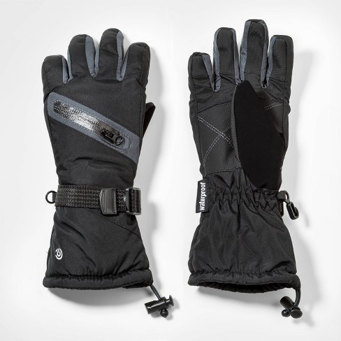 Boys' Zipper Pocket Solid Gloves - C9 Champion® Black - image 1 of 1