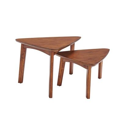 Set of Two Monterey Triangular Mid Century Modern Nesting Tables Chestnut - Alaterre Furniture