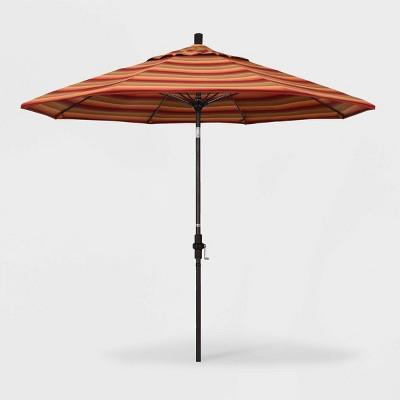 9' Sun Master Patio Umbrella Collar Tilt Crank Lift - Sunbrella Astoria Sunset - California Umbrella