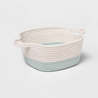 Square Coiled Rope Bin with Color Band - Cloud Island™ Mint