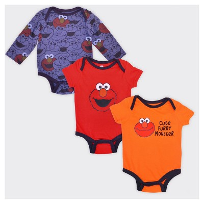 Baby Boys' Elmo Cute Furry Monster 3pk Bodysuit Set - 0-3M