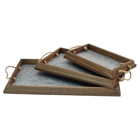 Wood & Metal Decorative Tray Set Brown  3pk - VIP Home & Garden - image 1 of 4