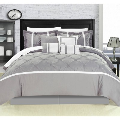 King 12pc Bed In A Bag Veronica Comforter Set Gray - Chic Home Design