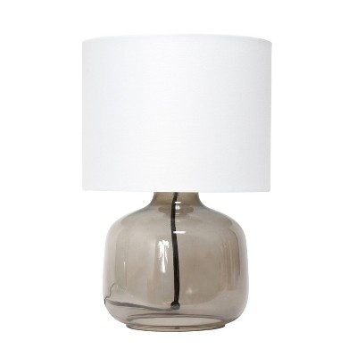 Glass Table Lamp with Fabric Shade White - Simple Designs