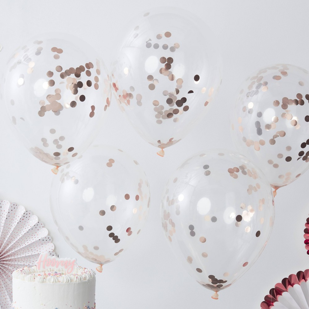 "Image of ""12"""" Confetti Balloons Rose Gold"""