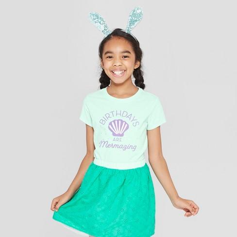 Girls' Short Sleeve Birthdays Are Mermazing Printed Graphic T-Shirt - Cat & Jack™ Green - image 1 of 3