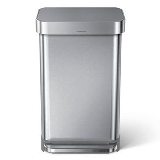 simplehuman 45L Stainless Steel Step Trash Can with Plastic Pedal & Lid