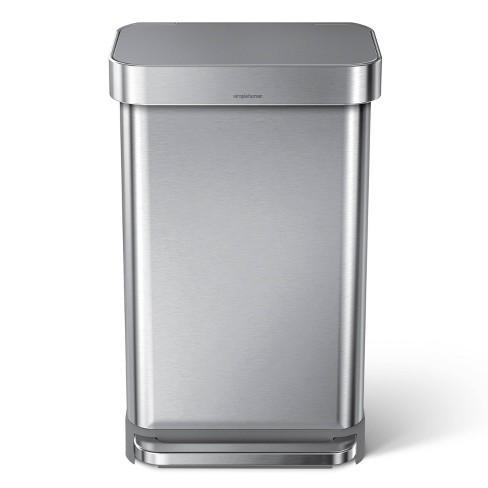 simplehuman 45L Stainless Steel Step Trash Can with Plastic Pedal & Lid - image 1 of 4