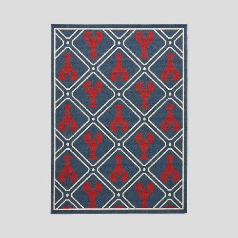 Coral Way Trellis Outdoor Rug Navy/Red - Christopher Knight Home - image 1 of 5