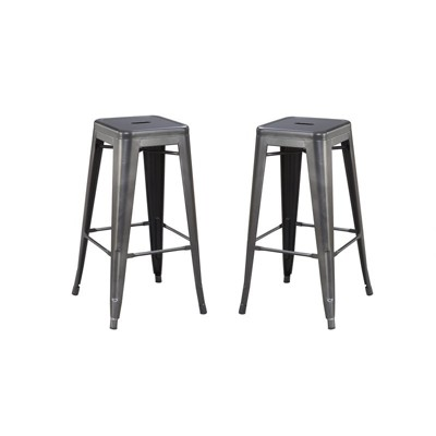 """30"""" Bar Stool with Metal Seat And Frame (Set of Two)  in Black - Wallace & Bay"""