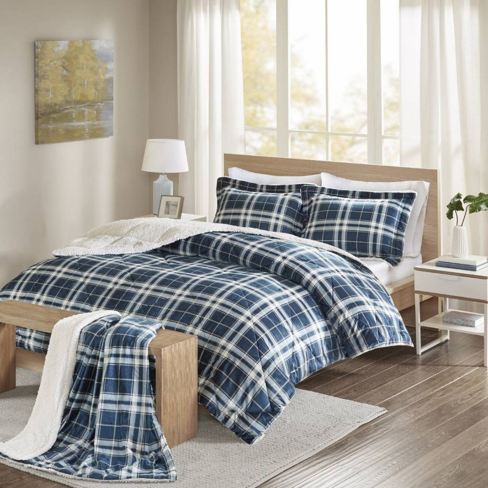 "Image of ""104""""x90"""" 4pc Garret Plaid Print Sherpa Comforter Set with Throw Navy, Blue"""