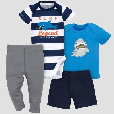 Gerber® Baby Boys' 4pc Shark Bodysuit, Shorts, Shirt and Pant Set - Blue 6-9M