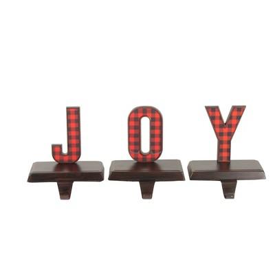 "Northlight Set of 3 Red and Black Buffalo Plaid ""JOY"" Christmas Stocking Holder 6"""