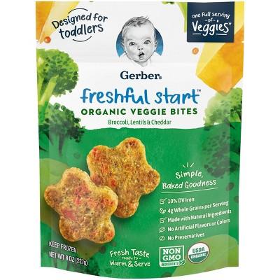 Gerber Freshful Start Frozen Organic Veggie Bites Broccoli, Lentils & Cheddar - 8oz