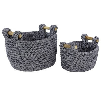 Olivia & May Set of 2 Large Round Striped Cotton Rope Storage Baskets with Teak Wood Handles