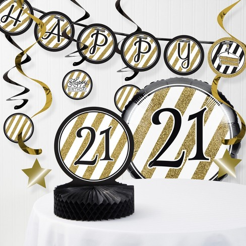 21st Birthday Decorations Kit Black Gold Target