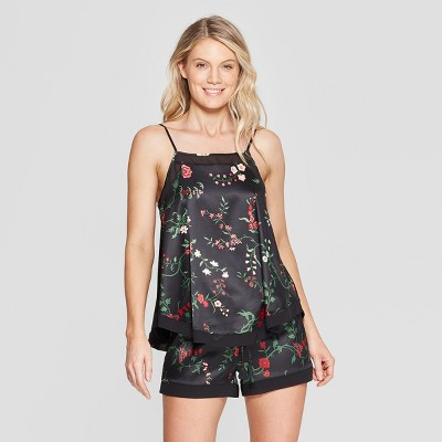 Women's Floral Print Satin Pajama Set - Gilligan & O'Malley™ Black M