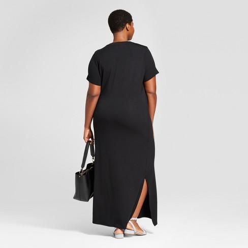 469ddf0606a24 Women's Plus Size T-Shirt Maxi Dress - Ava & Viv™ Black : Target