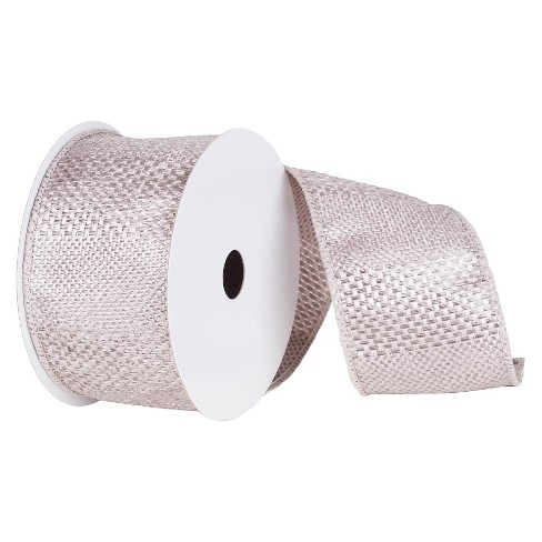 6'' Textured Wide Stripe Wired Edged Ribbon Silver 10ft - image 1 of 2