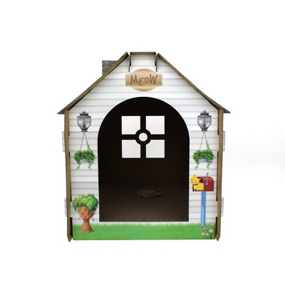 ASPCA Cottage Cat House with Scratchboard - White