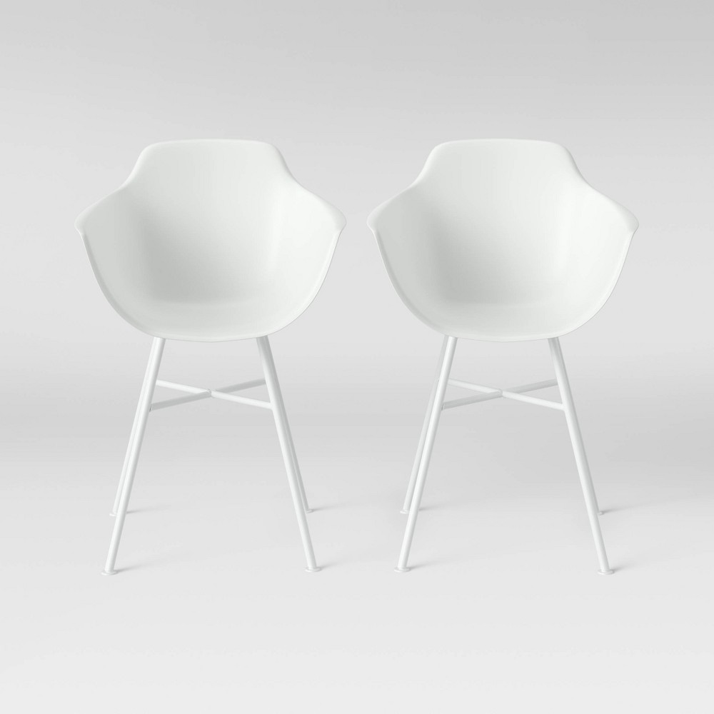 Set of 2 Miller Barrel Dining Chair with Metal Legs White - Project 62