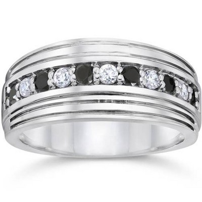 Pompeii3 Mens 10k White Gold Alternating Black & White Diamond 1/2ct Wedding Ring