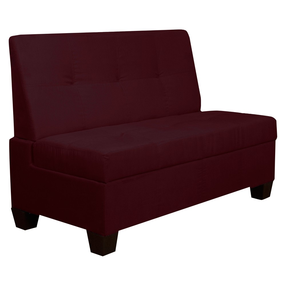 """Image of """"Valet Tufted Padded Hinged Storage Chair - Suede - Epic Furnishings, Size: 48"""""""" Wide, Burgandian Red"""""""