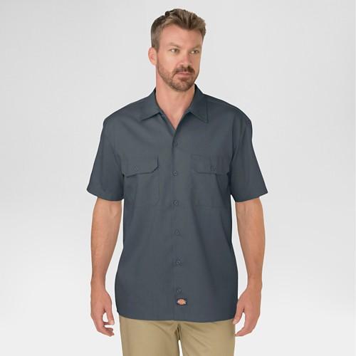 petiteDickies Men's Big & Tall Original Fit Short Sleeve Twill Work Shirt- Charcoal 4XL, Grey