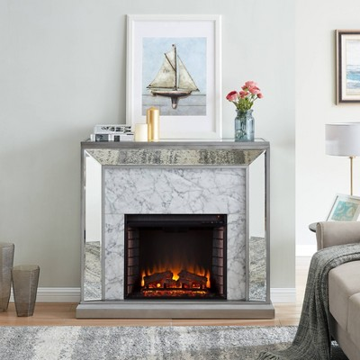 Tynchel Mirrored Faux Marble Fireplace Antique Silver - Aiden Lane