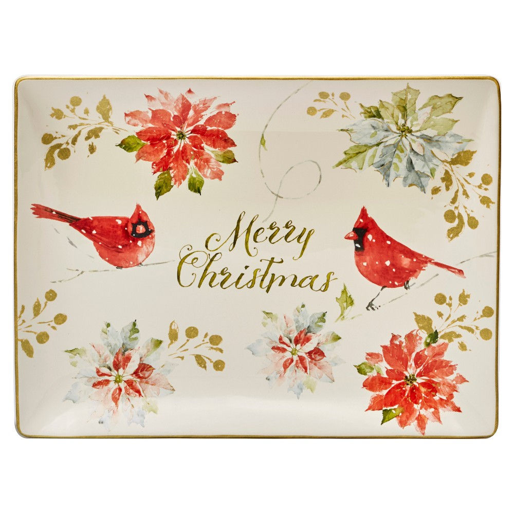 Certified International Home For The Holidays Rectangle Ceramic Serving Platter 16