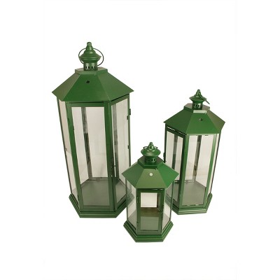"""Christmas Central Set of 3 Green Traditional Style Pillar Candle Holder Lanterns 27"""""""