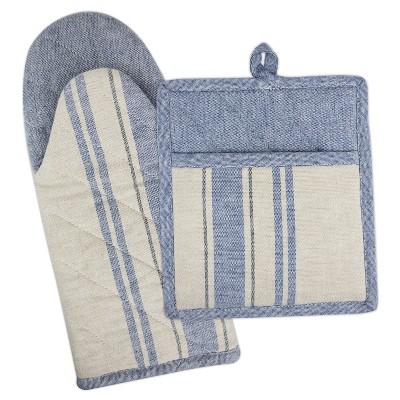 Set of 2 Blue/White French Stripe Nautical Kitchen Textile Set - Design Imports