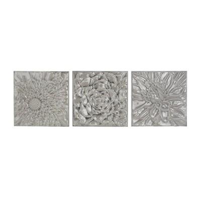 """(Set of 3) 16"""" Contemporary Glazed Iron Wall Decor - Olivia & May"""