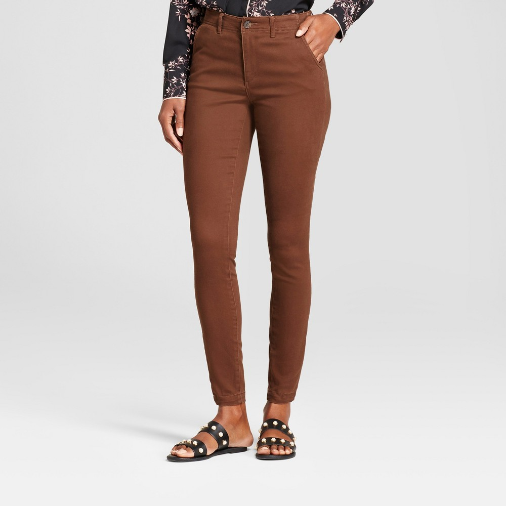 Women's Skinny Ankle Length Chino Pants - A New Day Dark Brown 0