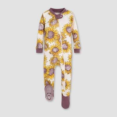 Burt's Bees Baby® Baby Girls' Sunflower Floral Organic Cotton Footed Sleepers - Yellow/Purple 12M