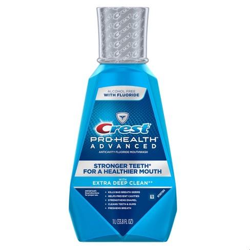 Crest Pro-Health Advanced Alcohol Free Fluoride Anticavity Extra Deep Clean Mouthwash Fresh Mint - 33.8 fl oz - image 1 of 3