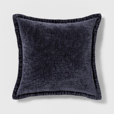 Washed Chenille Square Pillow Navy - Threshold™