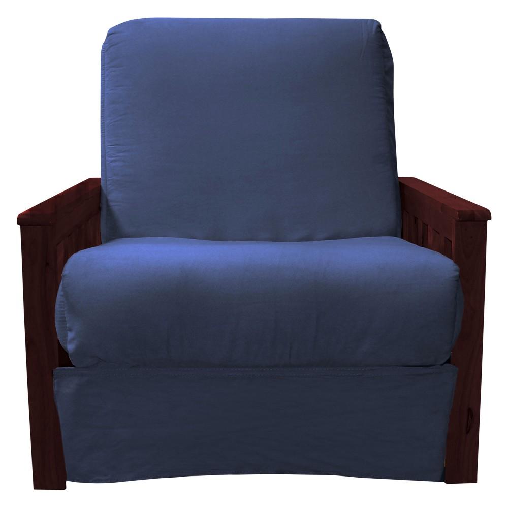 Mission Perfect Convertible Futon Sofa Sleeper - Mahogany Wood Finish - Epic Furnishings, Blue